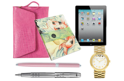 a stylish tablet PC, a graceful pen, designer diary, or an elegant bag